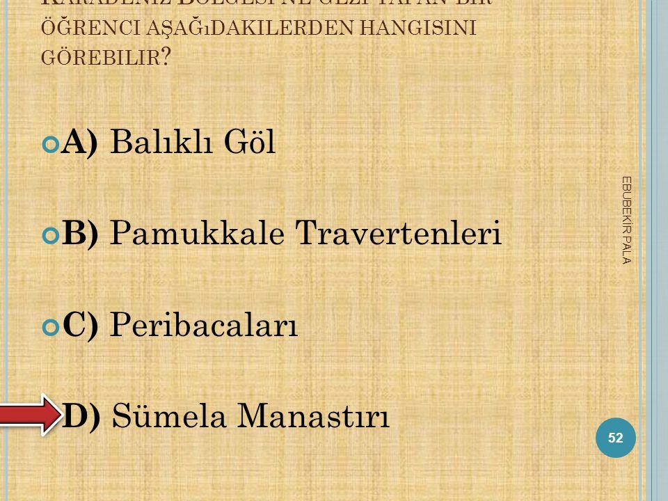 B) Pamukkale Travertenleri C) Peribacaları D) Sümela Manastırı