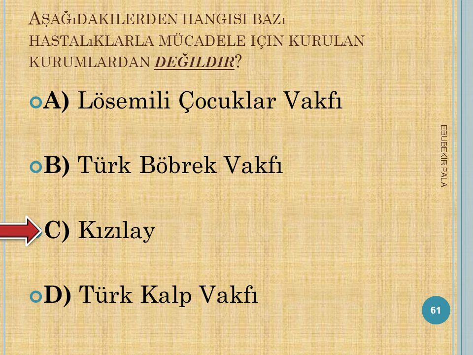 A) Lösemili Çocuklar Vakfı B) Türk Böbrek Vakfı C) Kızılay