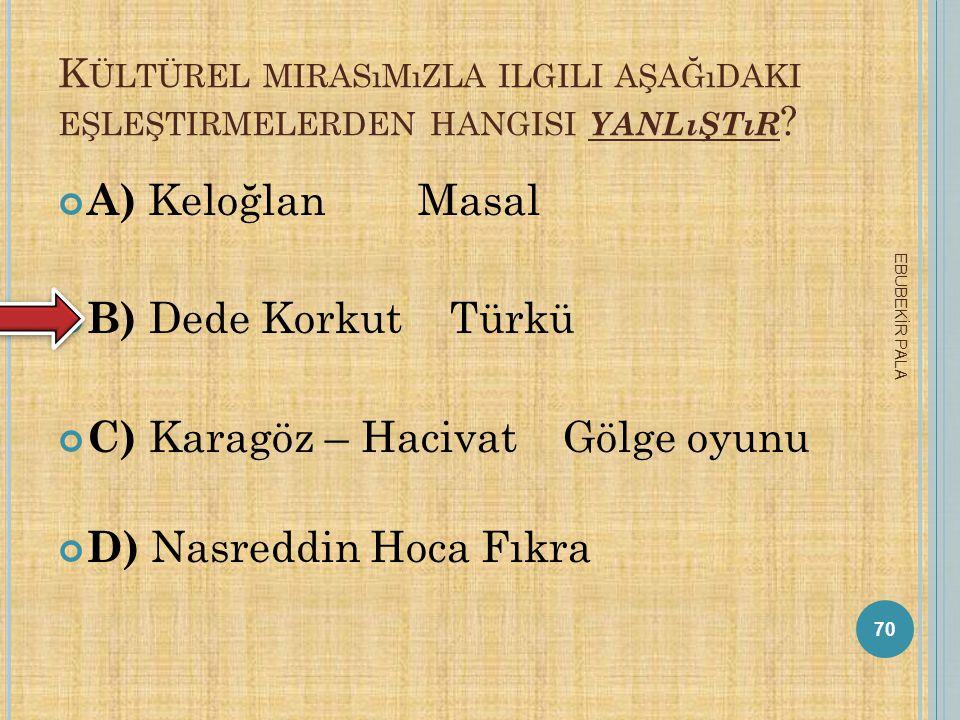 C) Karagöz – Hacivat Gölge oyunu D) Nasreddin Hoca Fıkra
