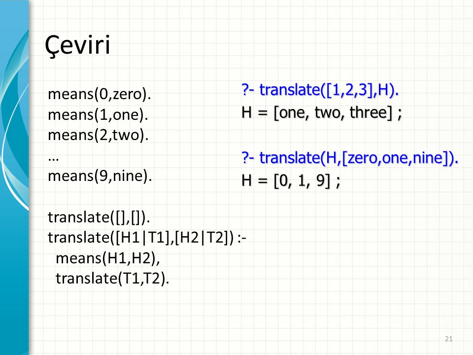 Çeviri means(0,zero). means(1,one). means(2,two). … means(9,nine).