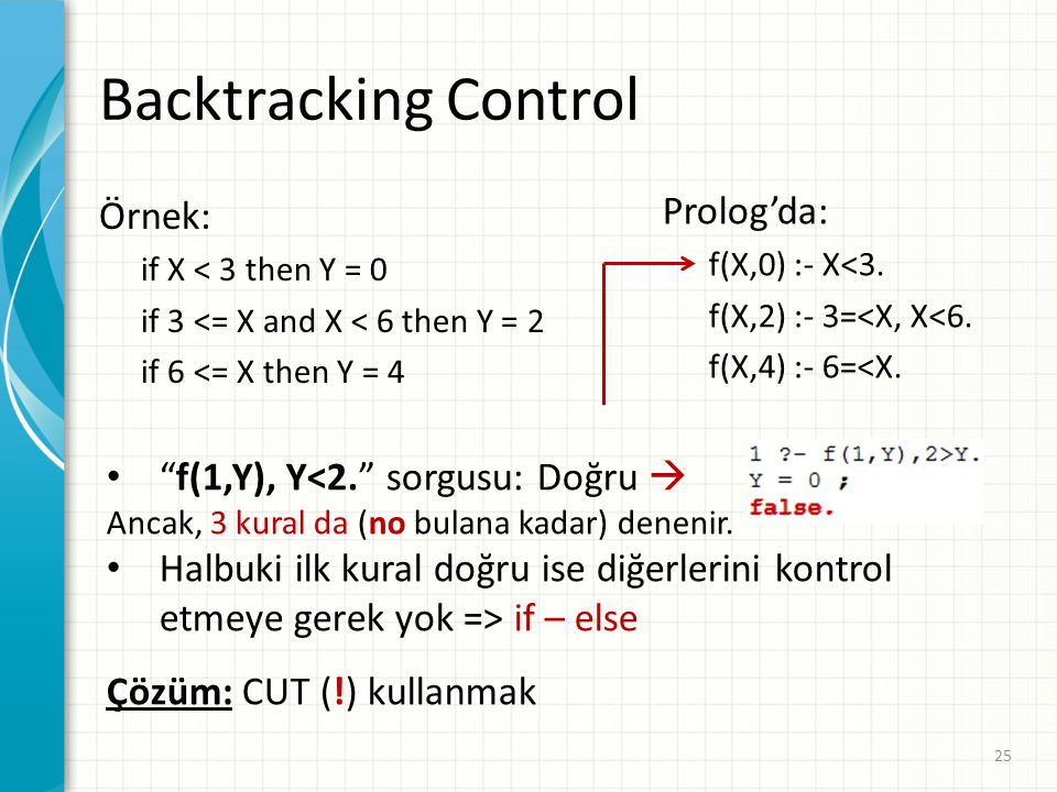 Backtracking Control Prolog'da: Örnek: