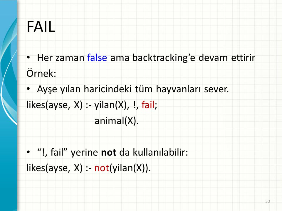 FAIL Her zaman false ama backtracking'e devam ettirir Örnek: