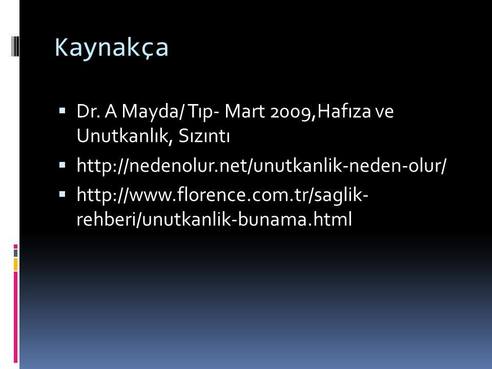 Kaynakça Dr. A Mayda/ Tıp- Mart 2009,Hafıza ve Unutkanlık, Sızıntı