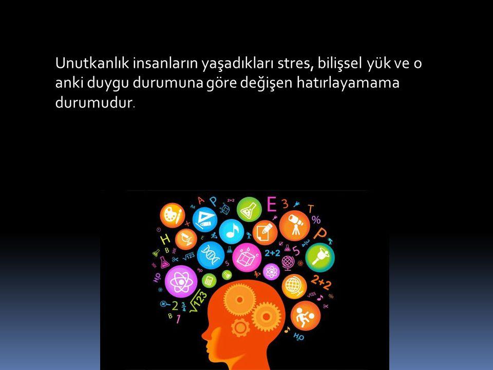 Unutkanlık insanların yaşadıkları stres, bilişsel yük ve o anki duygu durumuna göre değişen hatırlayamama durumudur.