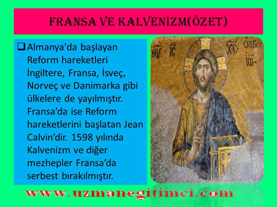 FRANSA VE KALVENİZM(ÖZET)