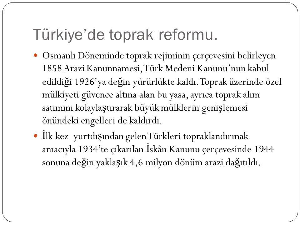 Türkiye'de toprak reformu.