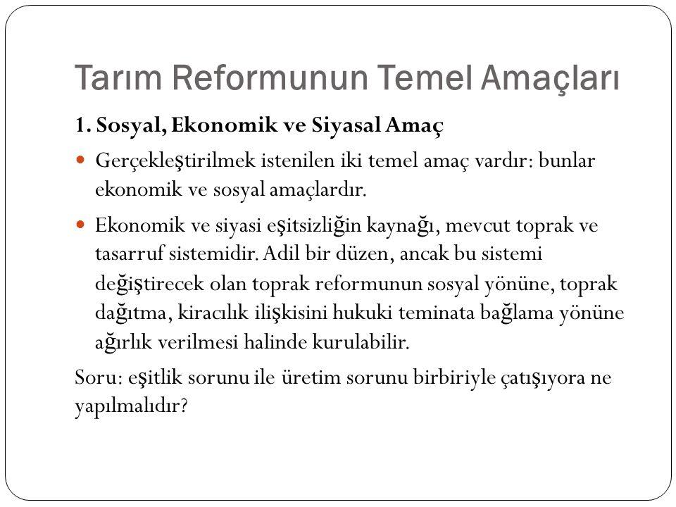 Tarım Reformunun Temel Amaçları
