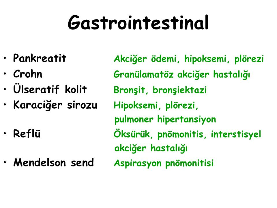 Gastrointestinal Pankreatit Akciğer ödemi, hipoksemi, plörezi