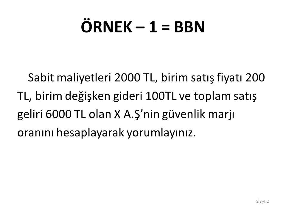 ÖRNEK – 1 = BBN Sabit maliyetleri 2000 TL, birim satış fiyatı 200