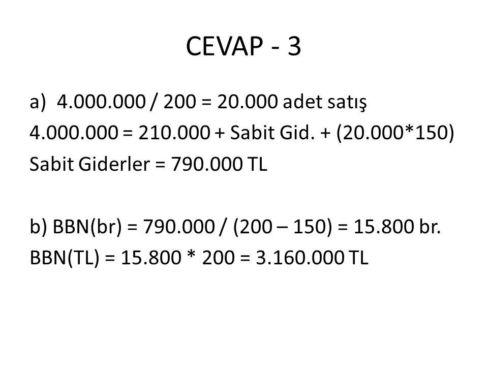 CEVAP - 3 4.000.000 / 200 = 20.000 adet satış. 4.000.000 = 210.000 + Sabit Gid. + (20.000*150) Sabit Giderler = 790.000 TL.