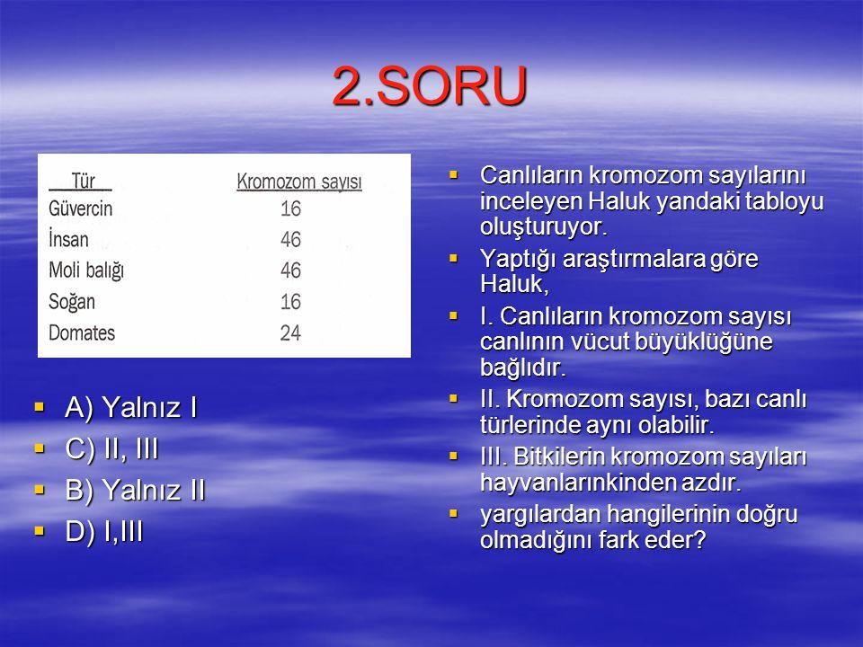 2.SORU A) Yalnız I C) II, III B) Yalnız II D) I,III