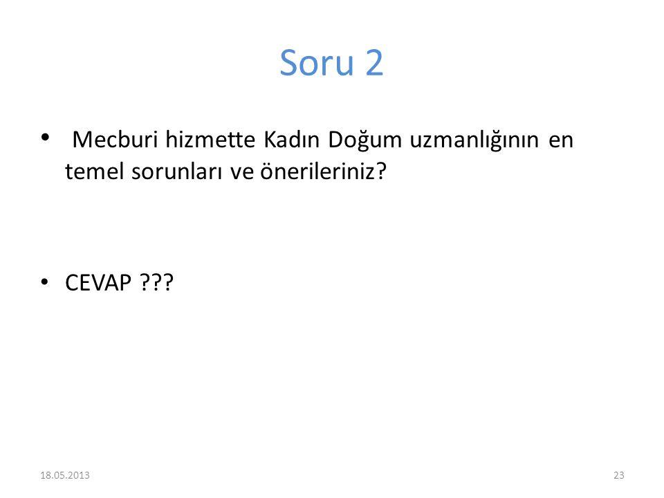 Soru 2 Mecburi hizmette Kadın Doğum uzmanlığının en temel sorunları ve önerileriniz.
