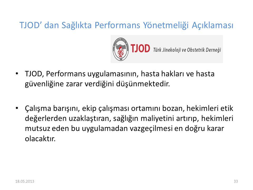 TJOD' dan Sağlıkta Performans Yönetmeliği Açıklaması