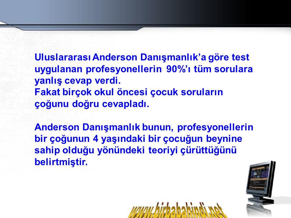 Uluslararası Anderson Danışmanlık'a göre test uygulanan profesyonellerin 90%'ı tüm sorulara yanlış cevap verdi.