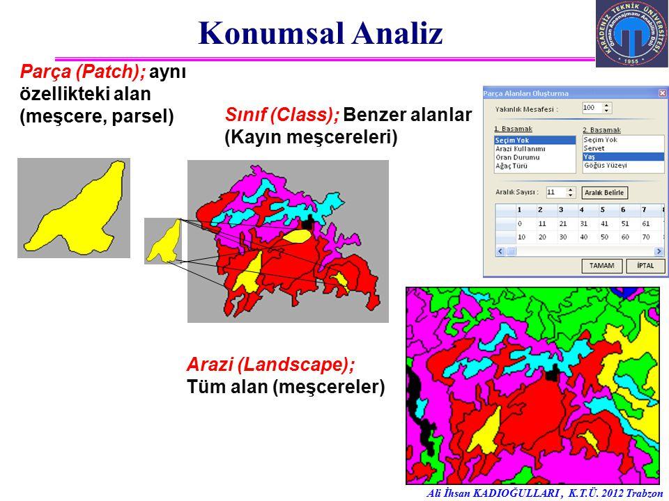 Konumsal Analiz Parça (Patch); aynı özellikteki alan (meşcere, parsel)