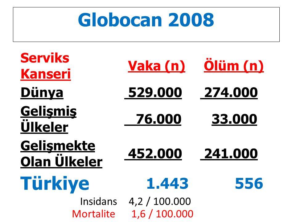 Globocan 2008 Türkiye 1.443 556 Serviks Kanseri Vaka (n) Ölüm (n)