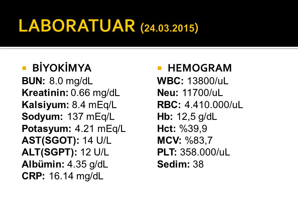 LABORATUAR (24.03.2015) BİYOKİMYA HEMOGRAM BUN: 8.0 mg/dL