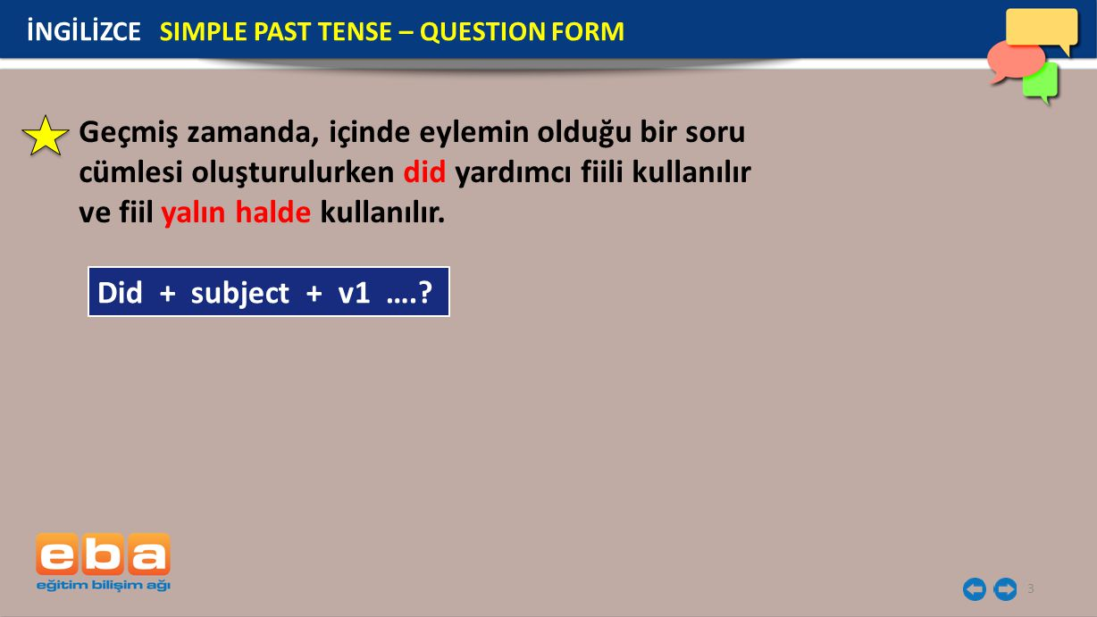 İNGİLİZCE SIMPLE PAST TENSE – QUESTION FORM