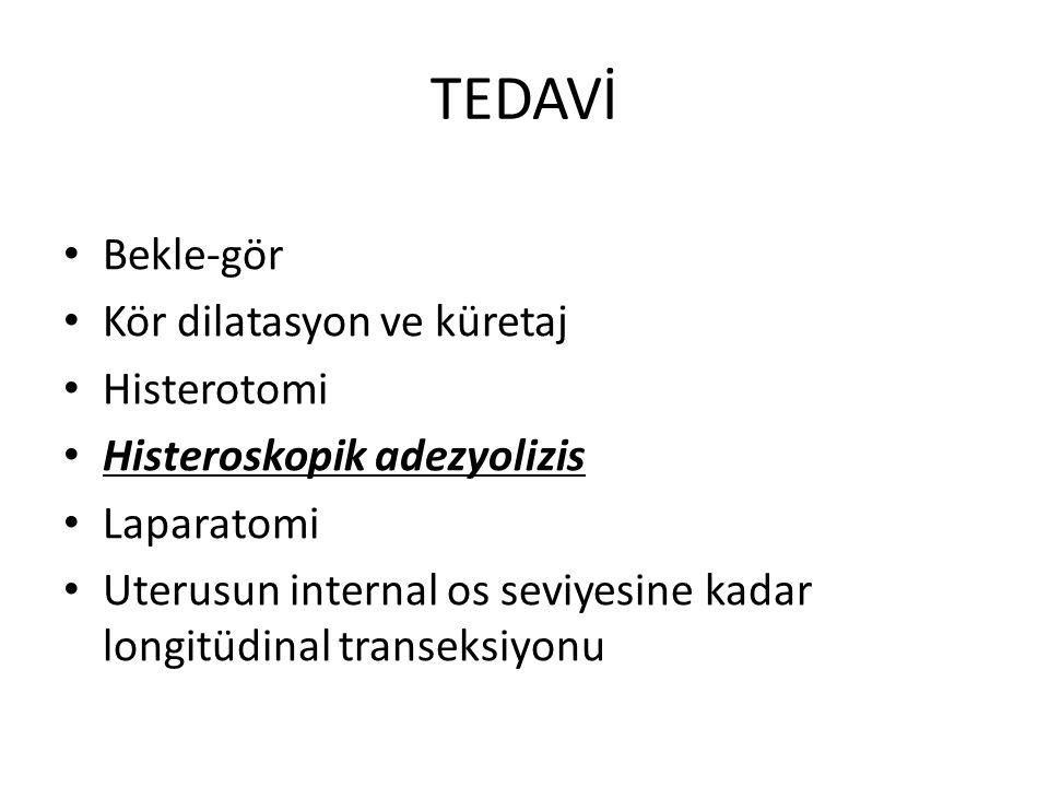 TEDAVİ Bekle-gör Kör dilatasyon ve küretaj Histerotomi