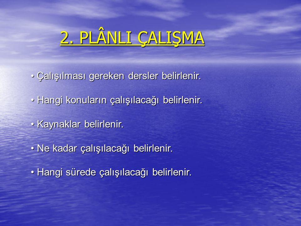 2. PLÂNLI ÇALIŞMA Çalışılması gereken dersler belirlenir.