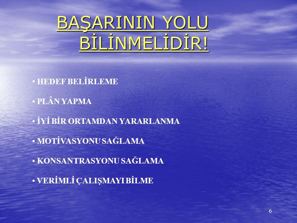 BAŞARININ YOLU BİLİNMELİDİR!