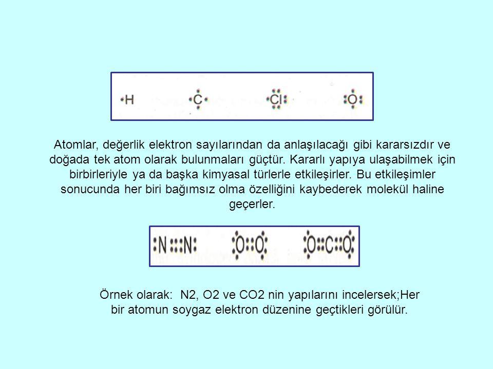 Atomlar, değerlik elektron sayılarından da anlaşılacağı gibi kararsızdır ve doğada tek atom olarak bulunmaları güçtür. Kararlı yapıya ulaşabilmek için birbirleriyle ya da başka kimyasal türlerle etkileşirler. Bu etkileşimler sonucunda her biri bağımsız olma özelliğini kaybederek molekül haline geçerler.