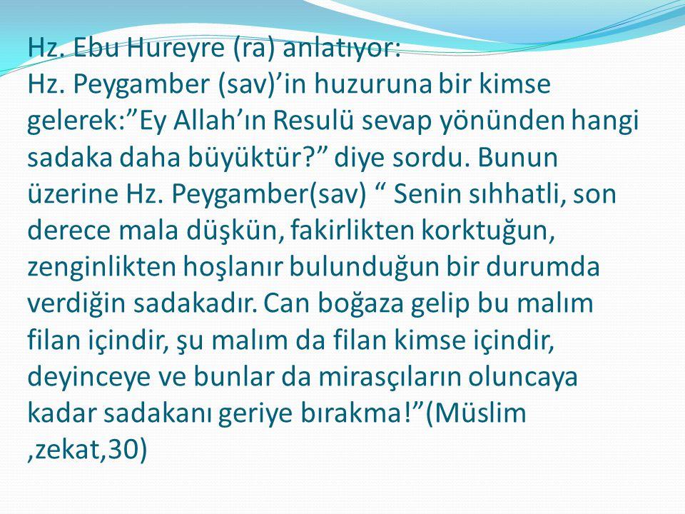 Hz. Ebu Hureyre (ra) anlatıyor: Hz