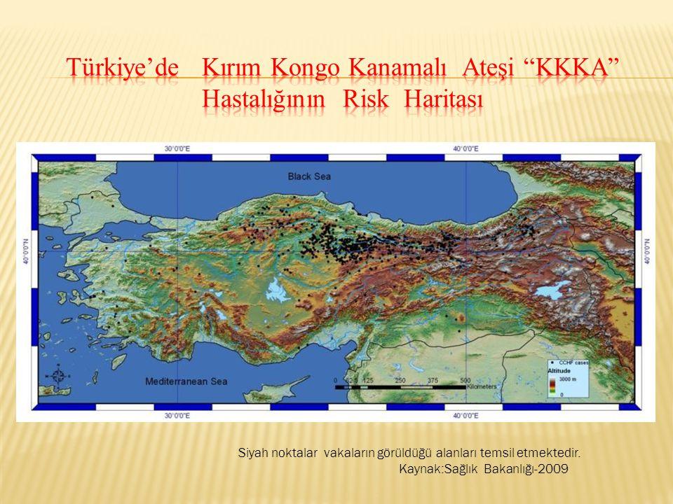 Türkiye'de Kırım Kongo Kanamalı Ateşi KKKA Hastalığının Risk Haritası