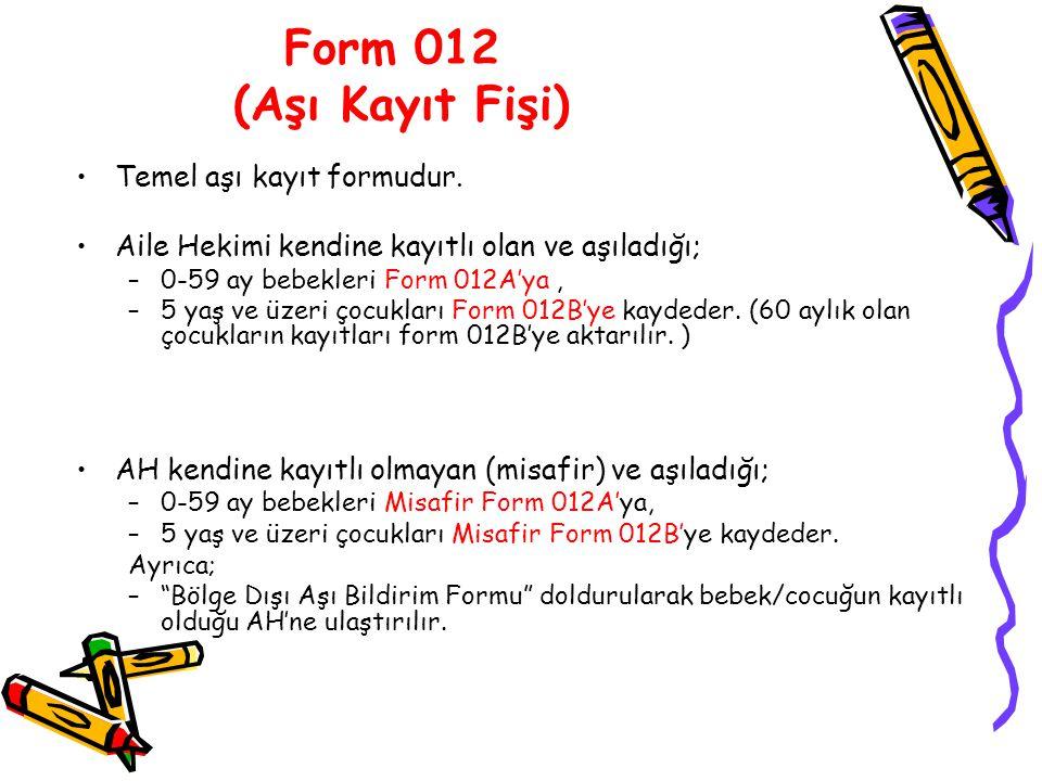 Form 012 (Aşı Kayıt Fişi) Temel aşı kayıt formudur.