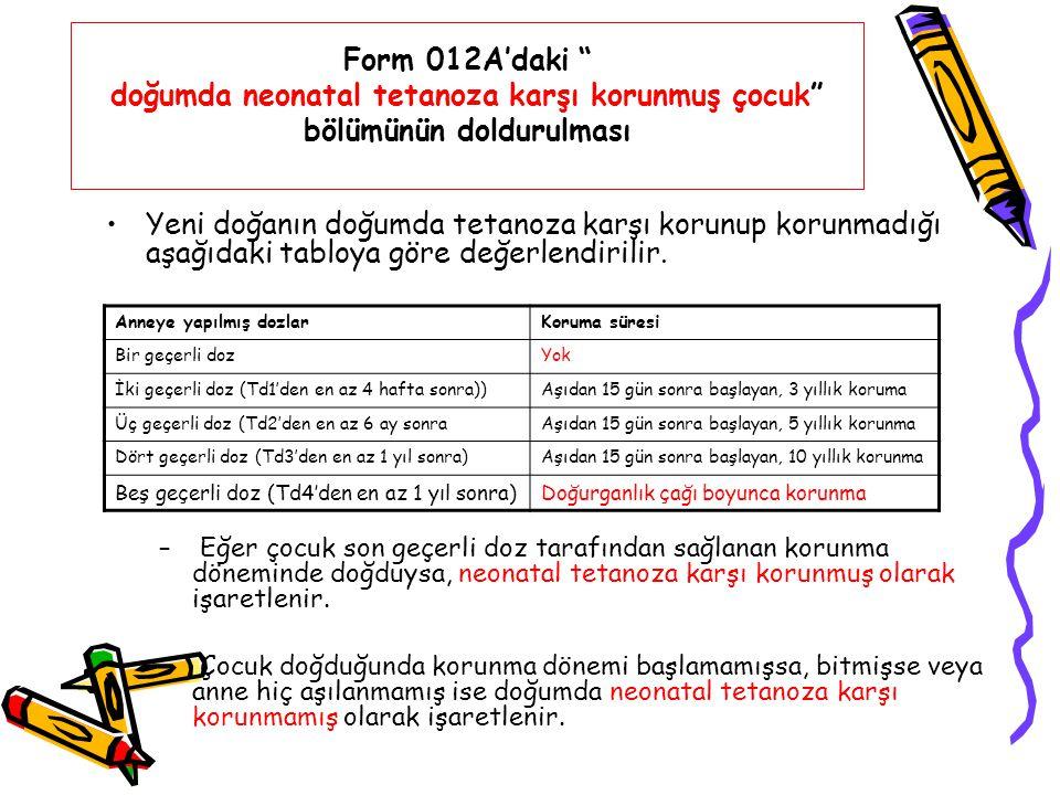 Form 012A'daki doğumda neonatal tetanoza karşı korunmuş çocuk bölümünün doldurulması