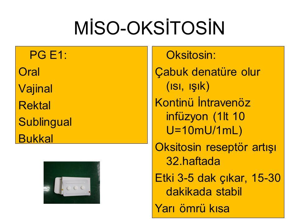 MİSO-OKSİTOSİN PG E1: Oral Vajinal Rektal Sublingual Bukkal