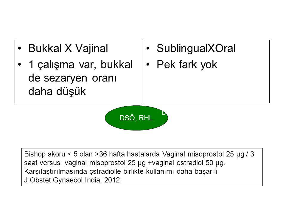 1 çalışma var, bukkal de sezaryen oranı daha düşük SublingualXOral