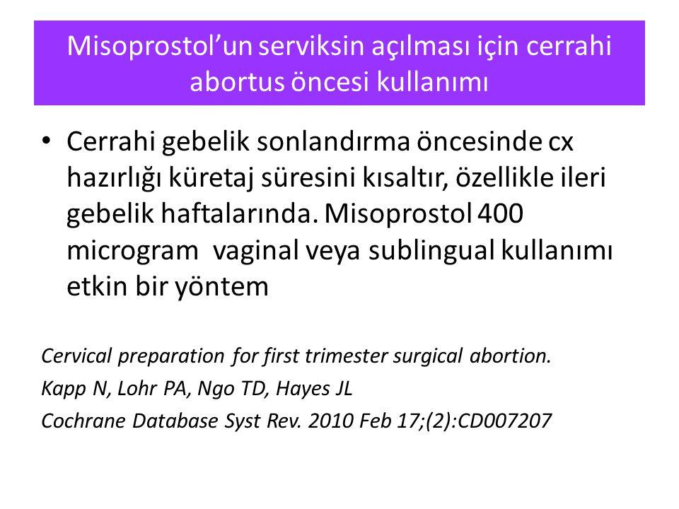 Misoprostol'un serviksin açılması için cerrahi abortus öncesi kullanımı