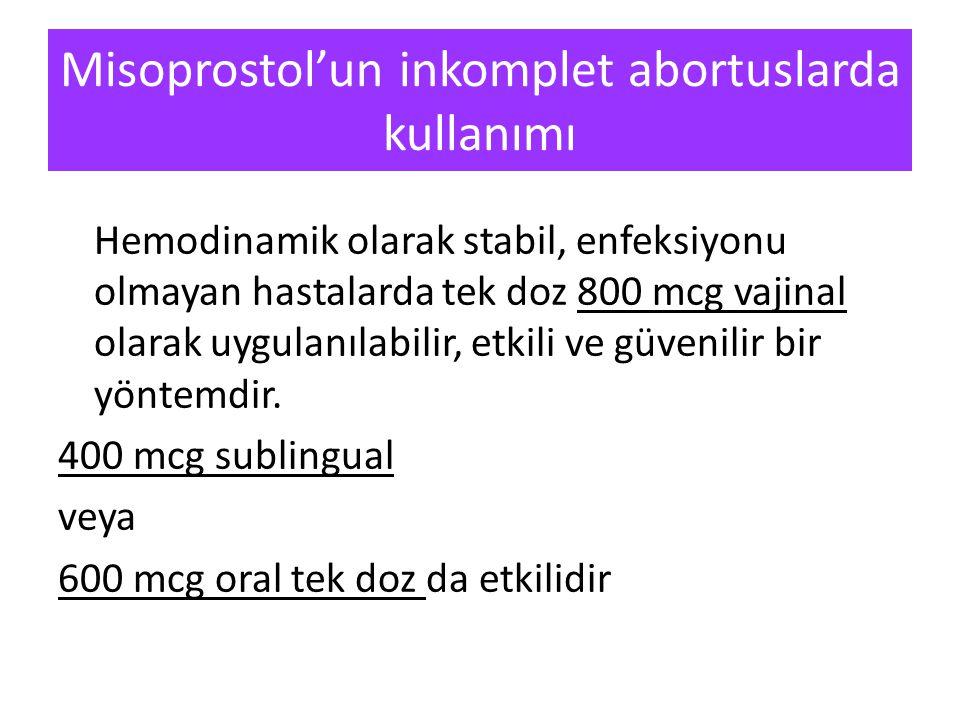 Misoprostol'un inkomplet abortuslarda kullanımı