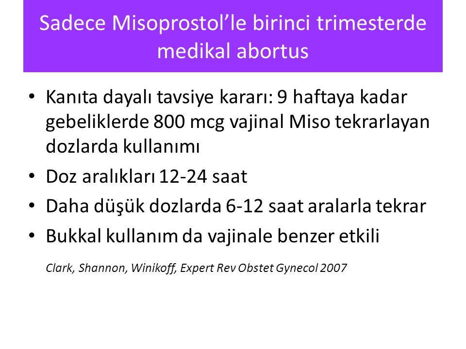 Sadece Misoprostol'le birinci trimesterde medikal abortus