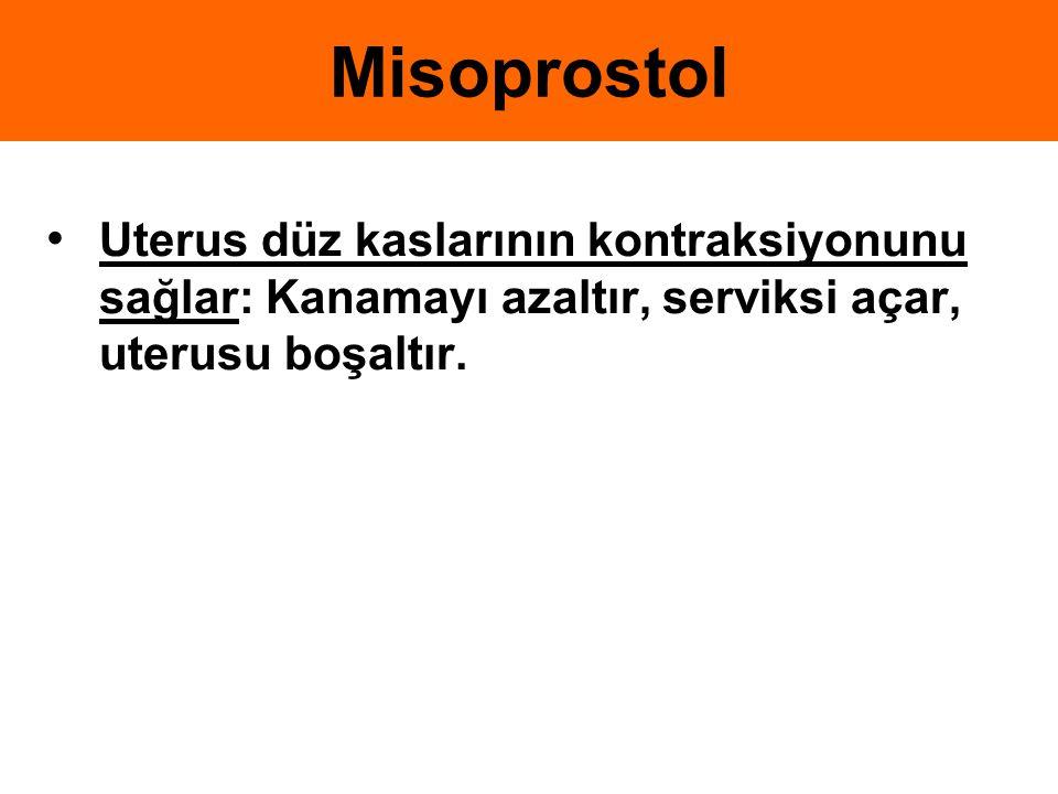 Misoprostol Uterus düz kaslarının kontraksiyonunu sağlar: Kanamayı azaltır, serviksi açar, uterusu boşaltır.