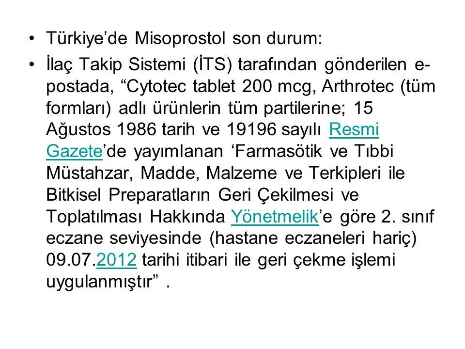 Türkiye'de Misoprostol son durum:
