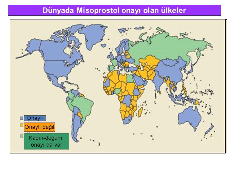 Dünyada Misoprostol onayı olan ülkeler