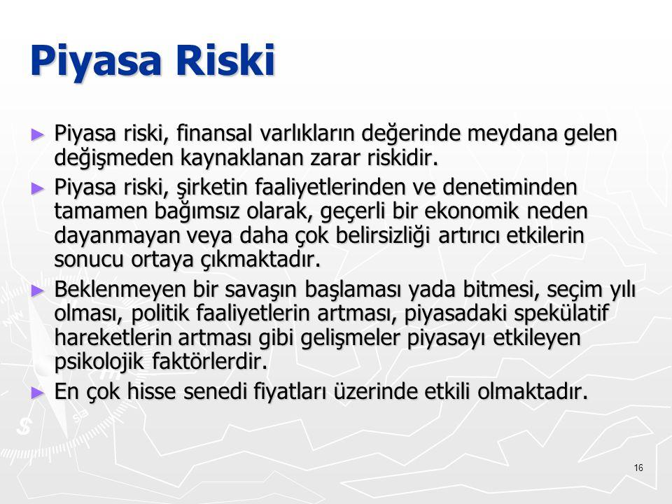 Piyasa Riski Piyasa riski, finansal varlıkların değerinde meydana gelen değişmeden kaynaklanan zarar riskidir.