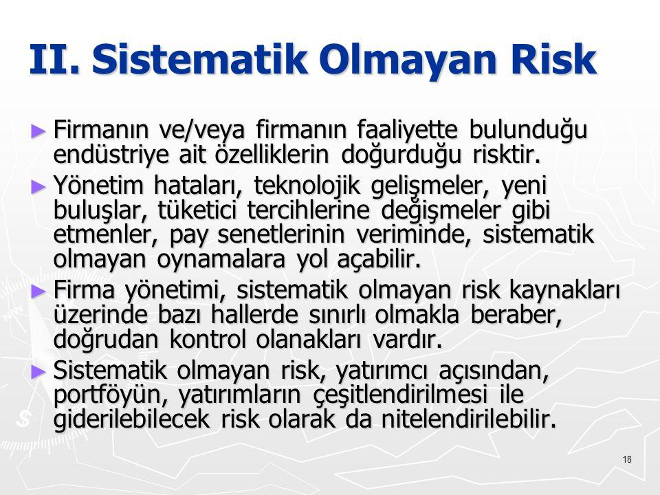 II. Sistematik Olmayan Risk