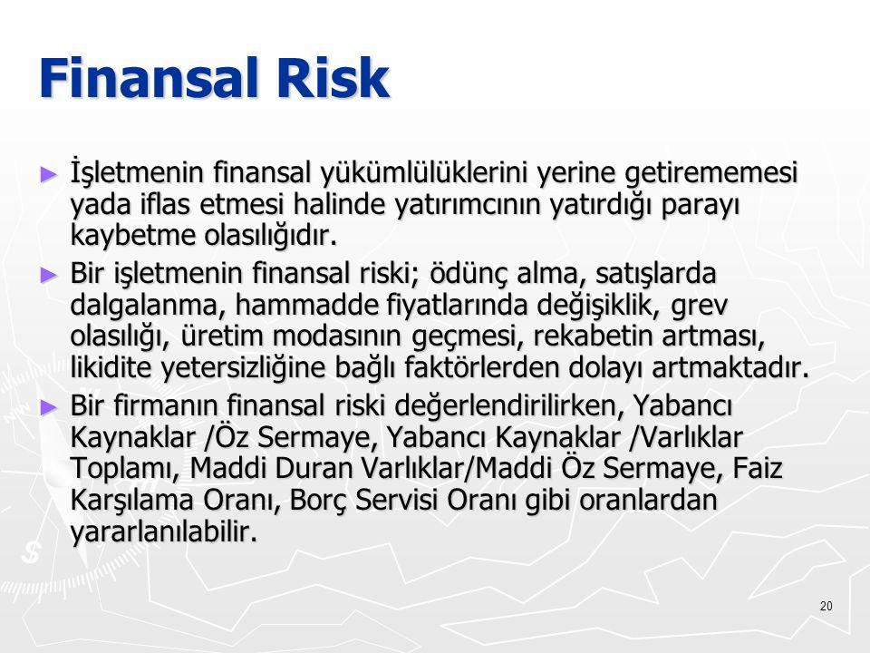 Finansal Risk İşletmenin finansal yükümlülüklerini yerine getirememesi yada iflas etmesi halinde yatırımcının yatırdığı parayı kaybetme olasılığıdır.