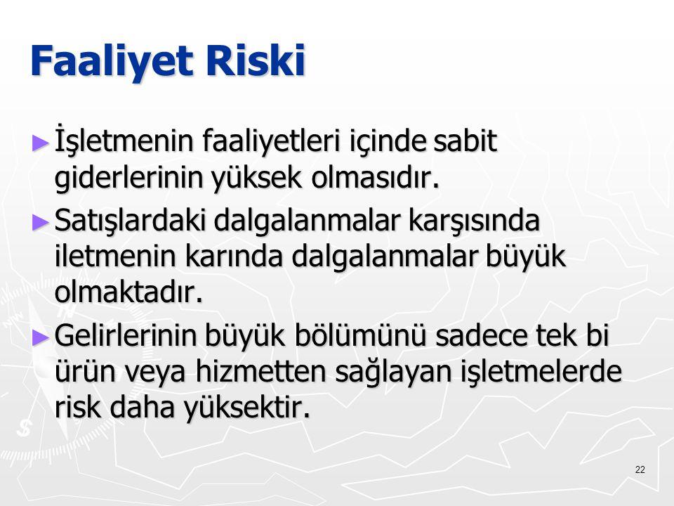 Faaliyet Riski İşletmenin faaliyetleri içinde sabit giderlerinin yüksek olmasıdır.