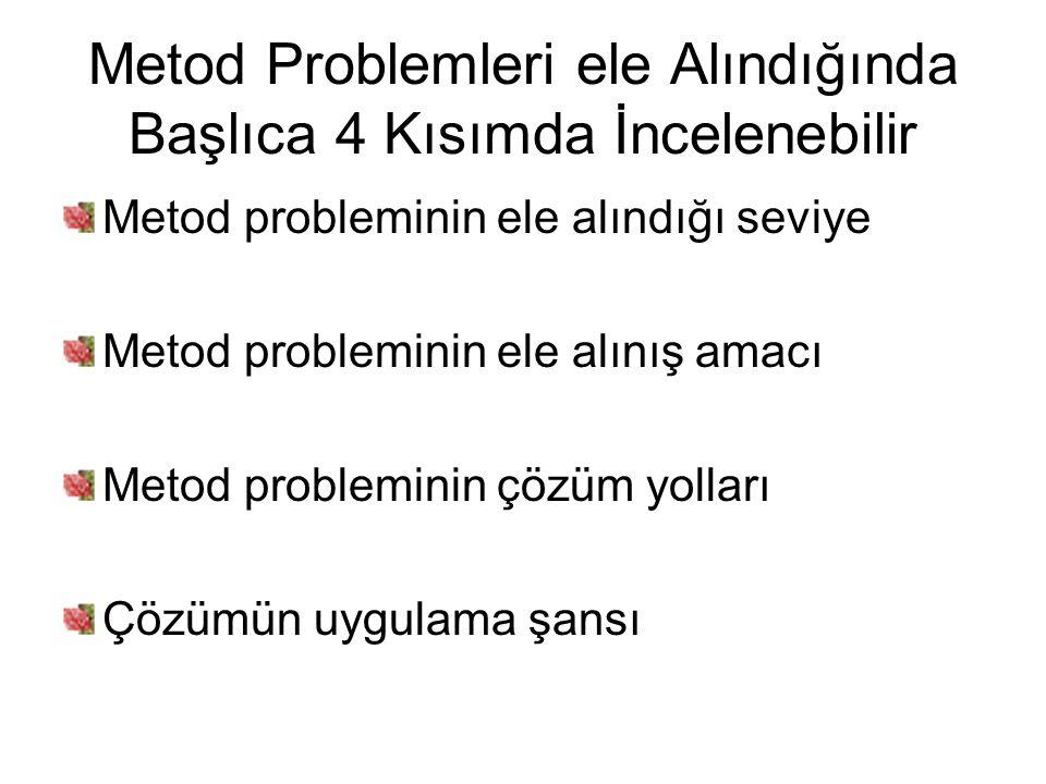 Metod Problemleri ele Alındığında Başlıca 4 Kısımda İncelenebilir