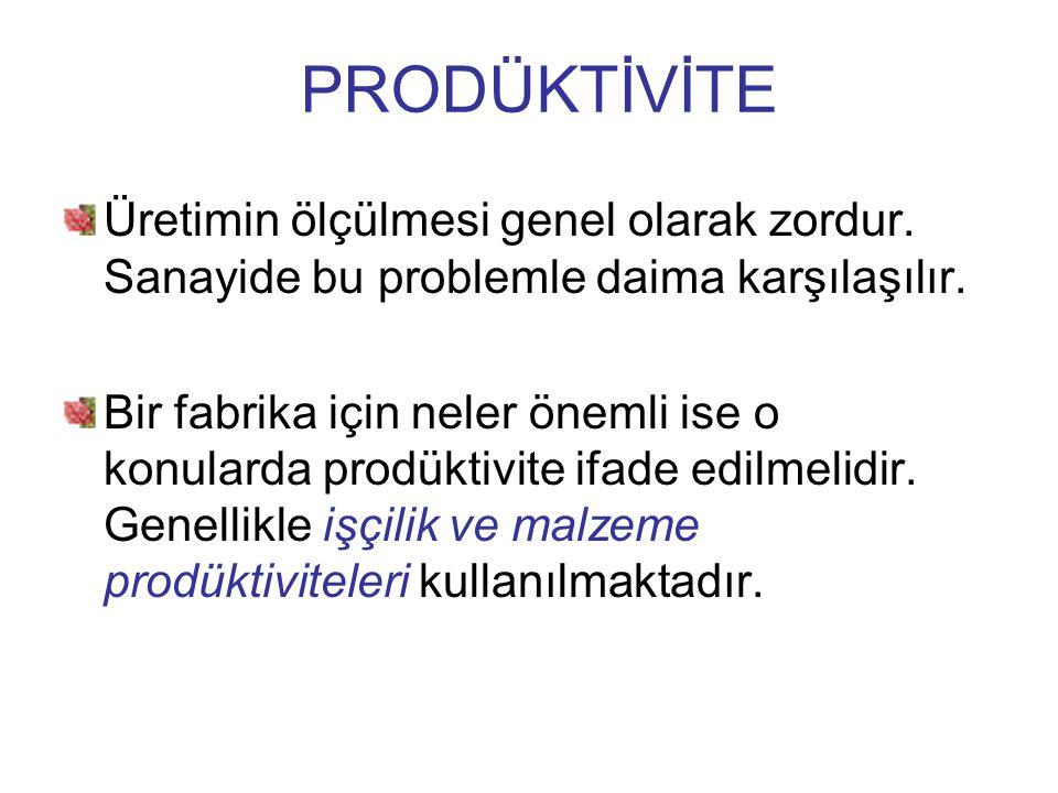 PRODÜKTİVİTE Üretimin ölçülmesi genel olarak zordur. Sanayide bu problemle daima karşılaşılır.