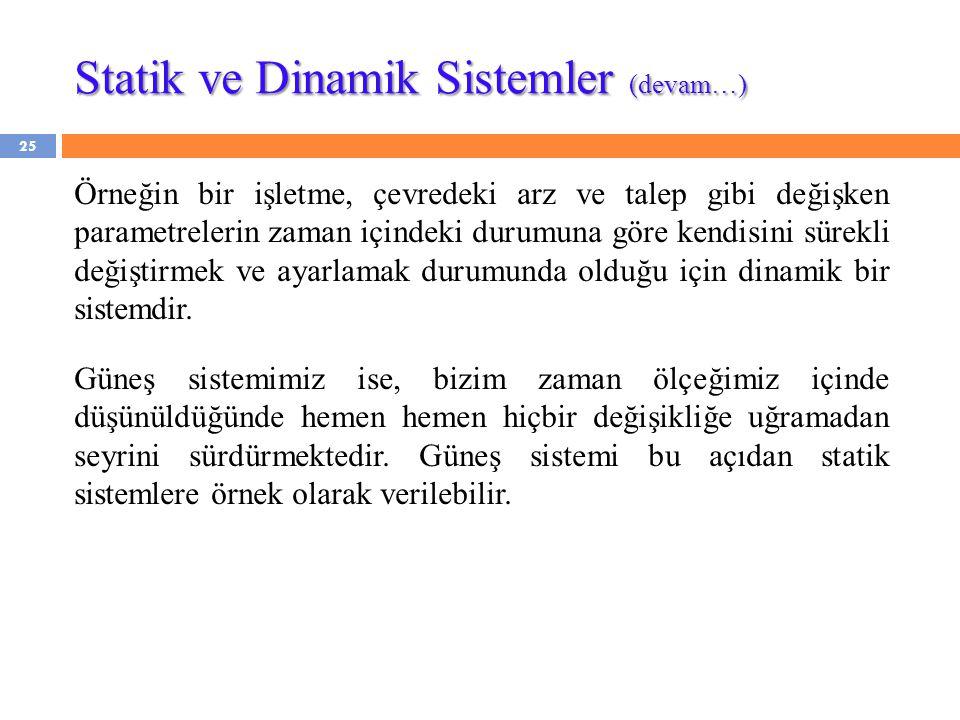 Statik ve Dinamik Sistemler (devam…)