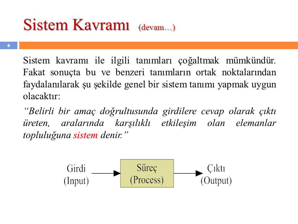 Sistem Kavramı (devam…)