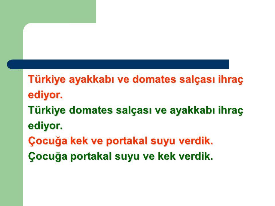 Türkiye ayakkabı ve domates salçası ihraç