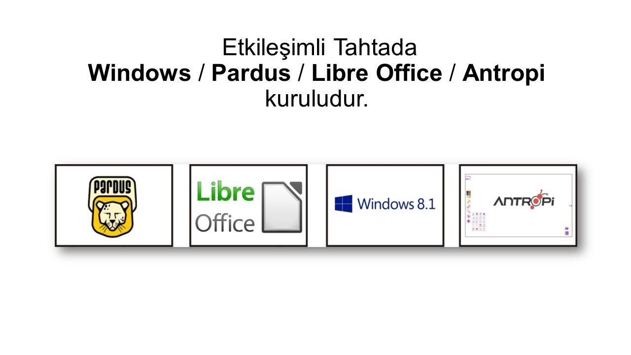 Etkileşimli Tahtada Windows / Pardus / Libre Office / Antropi kuruludur.