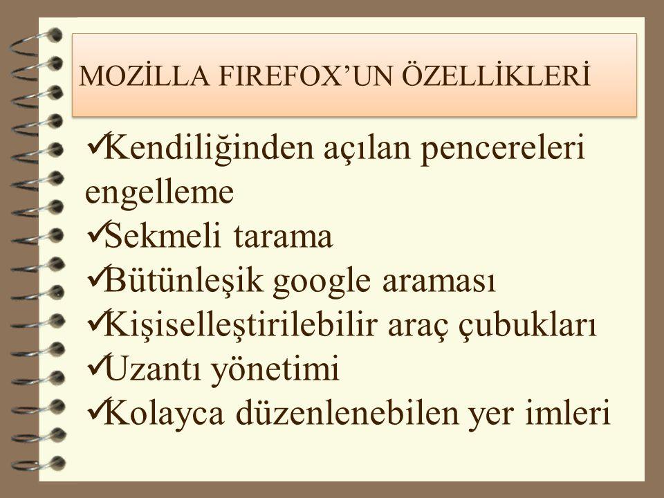 MOZİLLA FIREFOX'UN ÖZELLİKLERİ