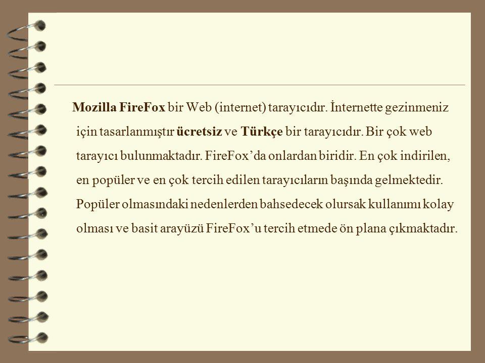 Mozilla FireFox bir Web (internet) tarayıcıdır